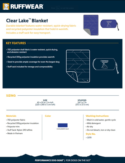 clear lake product info sheet