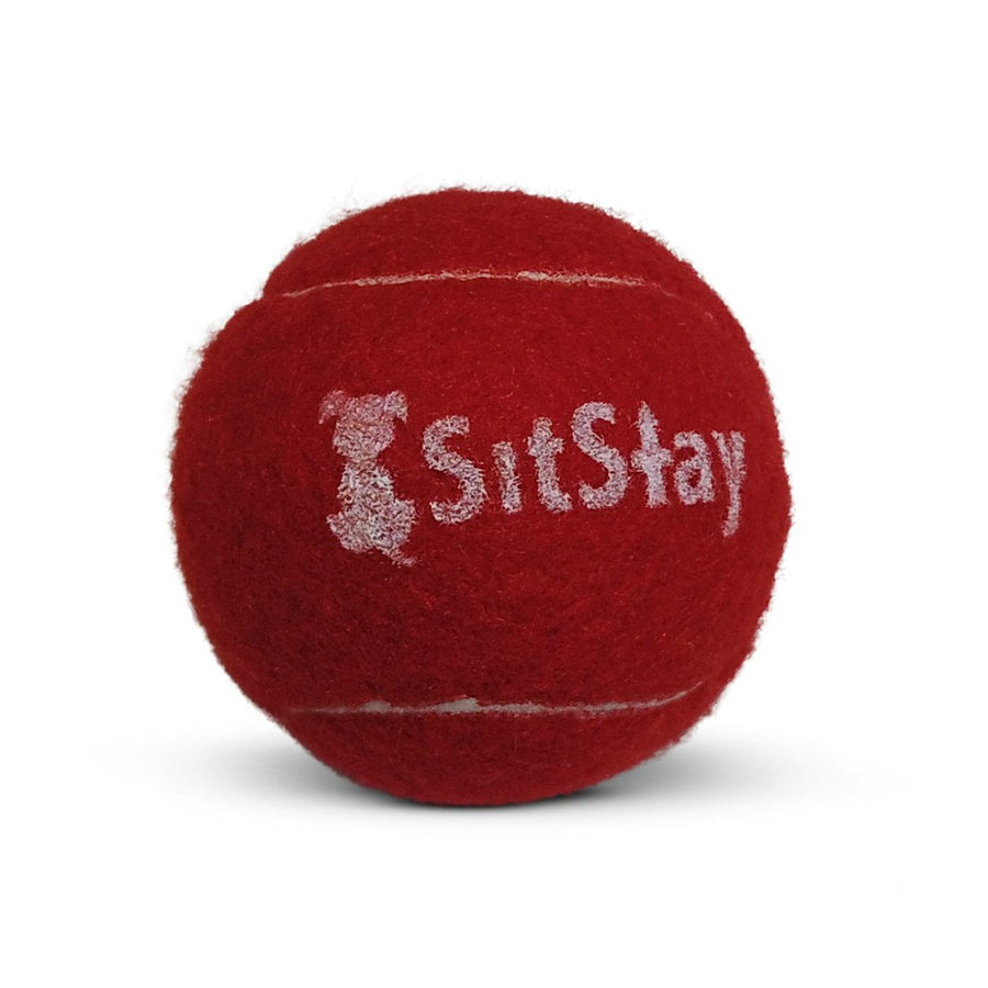 Red SitStay branded tennis ball