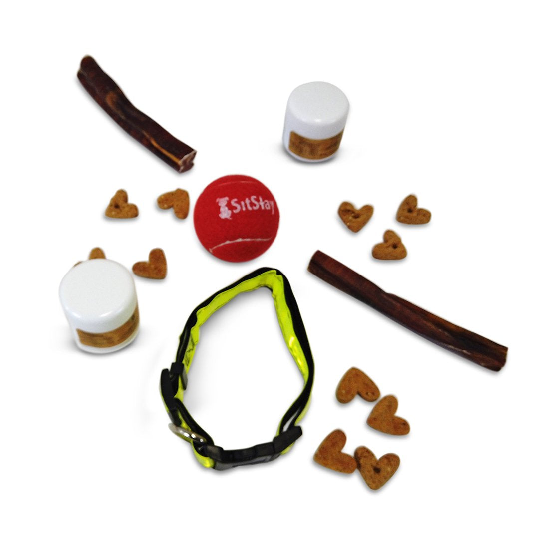 PetNV Collar, 2 bully sticks, red sitstay tennis ball, CBD coconut oil sample, bacon and cheese baked dog treats sample