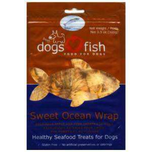 Dogs Love Fish Sweet Ocean Wrap, with apple! 3.5 oz. bag - SitStay