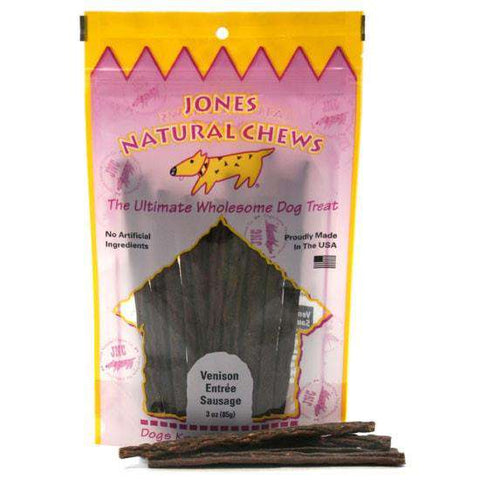 Jones Natural Chews Venison Sausage, 3 oz. - SitStay