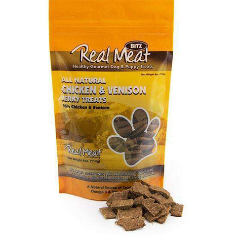 Real Meat Chicken & Venison Soft Jerky Nibs, 4 oz - SitStay