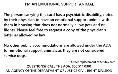 emotional support animal in training back
