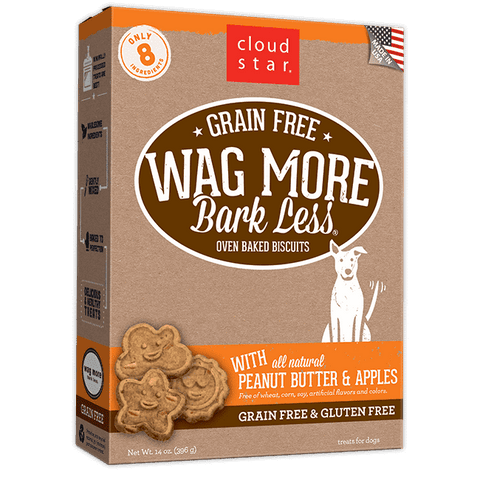 Cloud Star - Wag More Bark Less Oven-Baked Grain Free - Peanut Butter & Apples - SitStay
