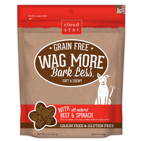 Cloud Star - Wag More Bark Less Soft & Chewy Grain Free - Beef & Spinach - SitStay