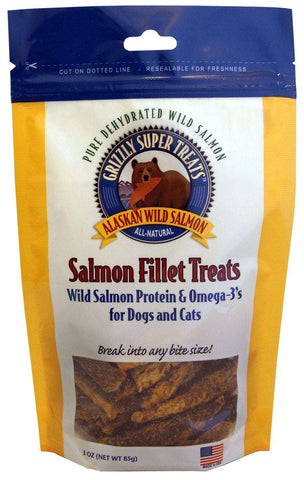 Grizzly 100% Dehydrated Wild Salmon Fillet Treats, 3 oz - SitStay