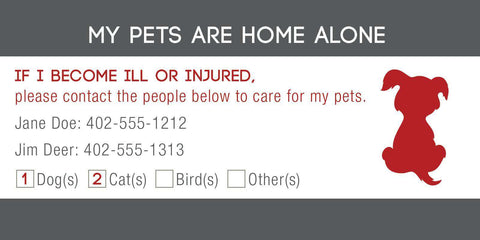 ID Card - Pets Are Home Alone - Checkbox Design - SitStay - 2