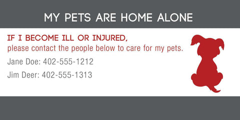 ID Card - Pets Are Home Alone - Simple Design - SitStay - 2