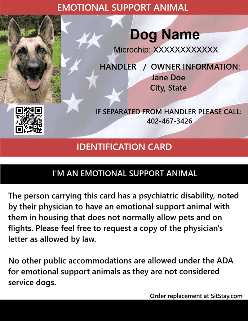 Image of: Housing Act Sitstay Id Card Emotional Support Animal