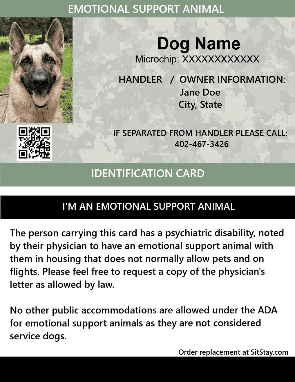 picture regarding Printable Ada Service Dog Card called Identity Card - Psychological Company Animal