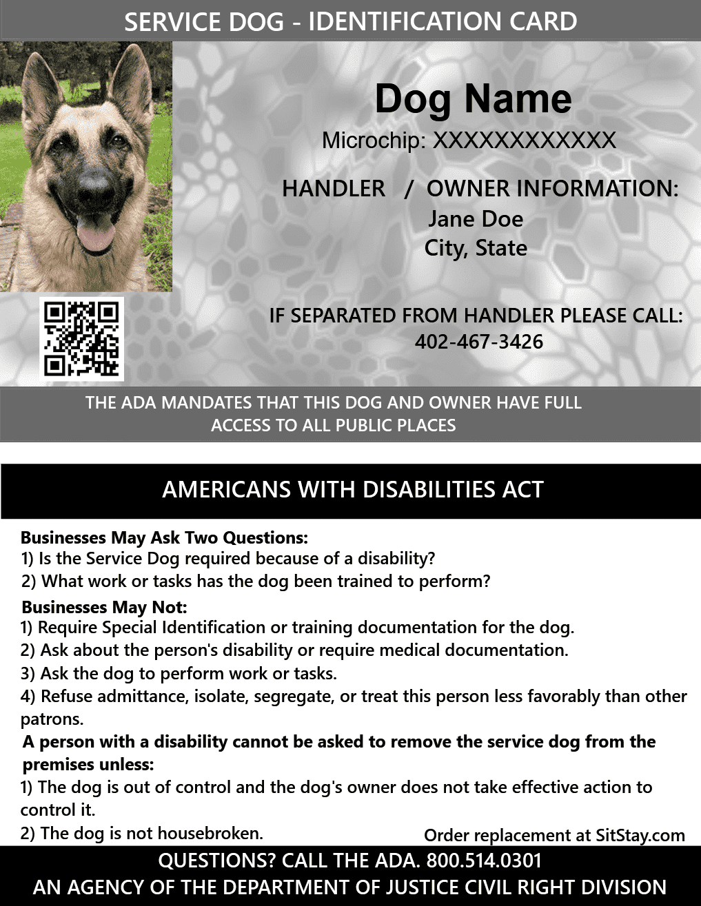 picture regarding Free Printable Service Dog Certificate titled Identification Card - Assistance Pet dog - with Holographic Basic safety Seal