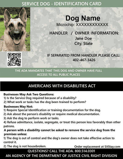 ID Card - Service Dog - with Holographic Security Seal
