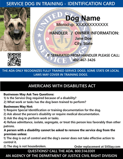 service dog in training id card