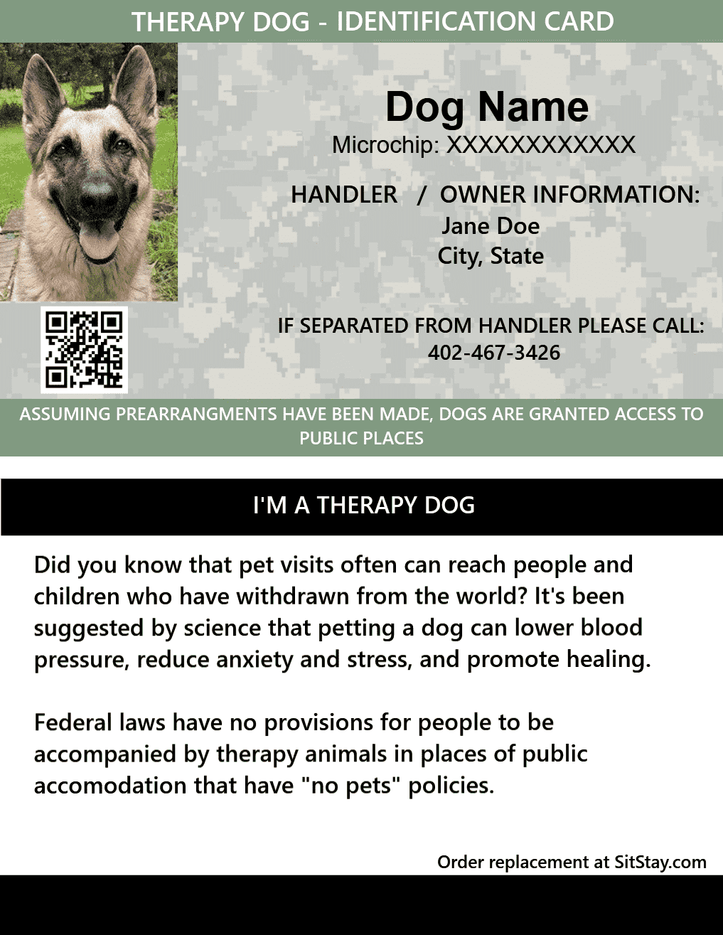 Id Card Therapy Dog
