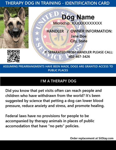 therapy dog in training id card