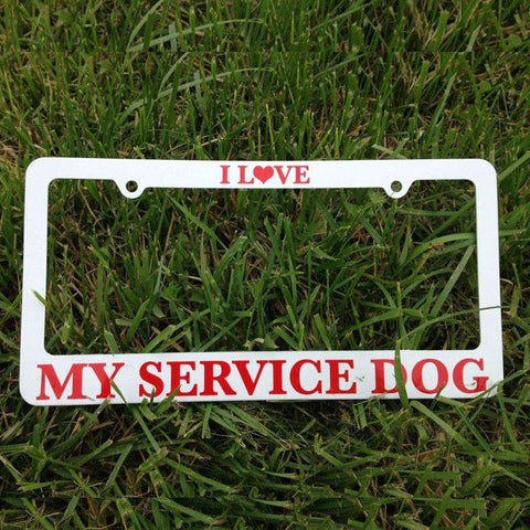 """I Love My Service Dog!"" License Plate Frame - SitStay"
