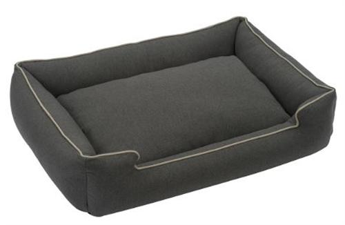 the licorice color of lounge bed with light colored piping
