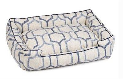 the marquee lounge bed, the colors are white with geometric light blue and dark blue designs