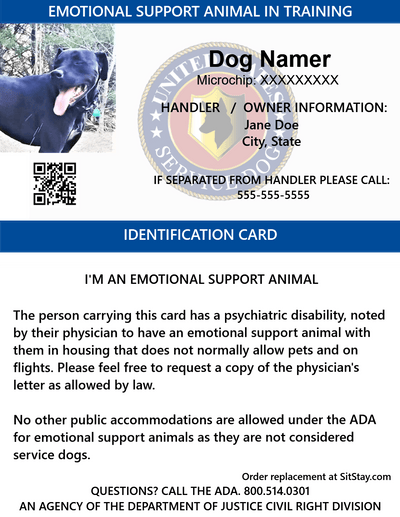 emotional support animal in training id card