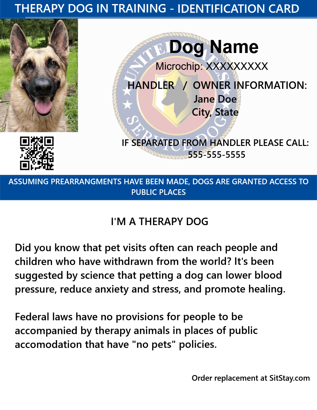 ID Card - Therapy Dog In Training