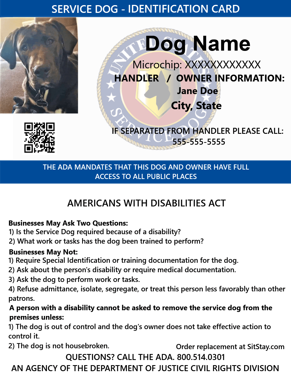 Id Card Service Dog With Holographic Security Seal Sitstay