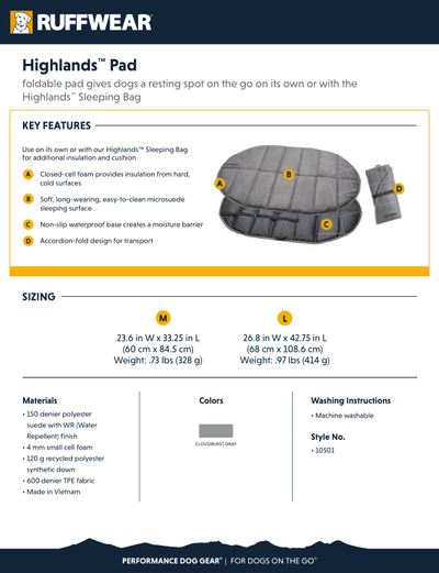 highlands sleeping pad product info sheet