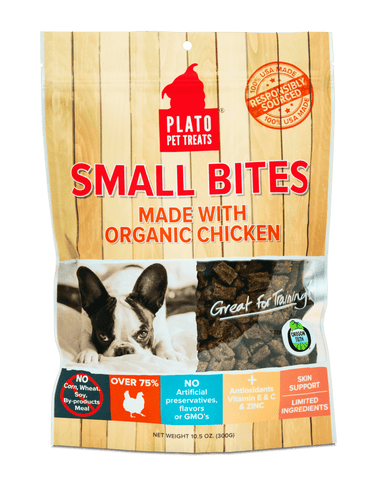 Plato Small Bites Dog Treats, Organic Chicken Flavored