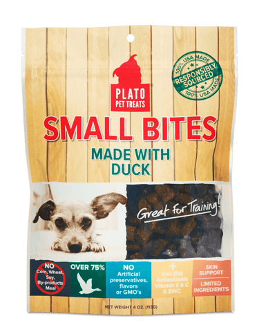 Plato Small Bites Dog Treats, Duck Flavored - SitStay - 1