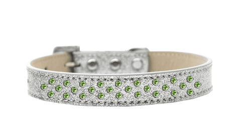 Silver Collar with Green Jewels