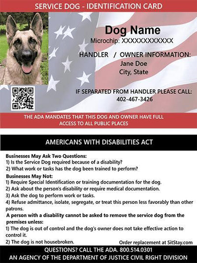 Service dog ID card - American flag background