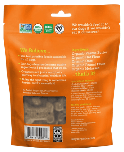 Riley's Organics Peanut Butter & Molasses Organic Dog Treat
