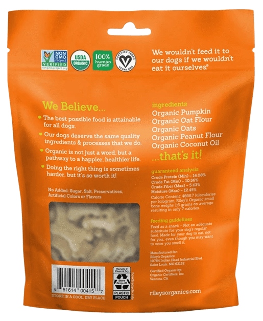 Riley's Organics Pumpkin & Coconut Organic Dog Treat