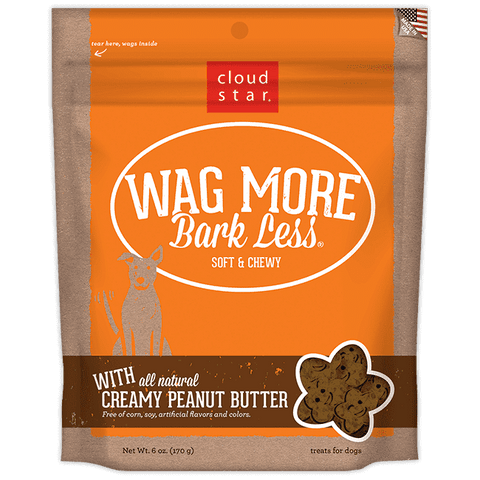 Cloud Star - Wag More Bark Less Soft & Chewy Dog Treats - Creamy Peanut Butter - SitStay