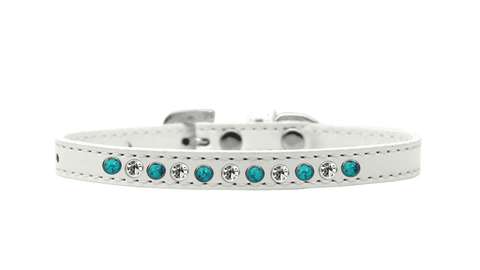 White Puppy Collar w/ Turquoise Pearls and Crystals