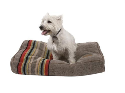 a small white dog sitting on a yakima pet bed