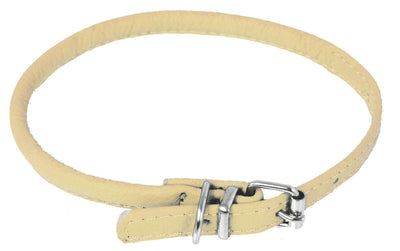 DOGLine Round Leather Collar - SitStay - 14
