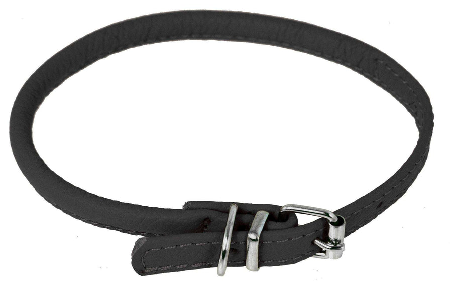 DOGLine Round Leather Collar - SitStay - 1