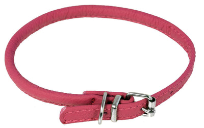 DOGLine Round Leather Collar - SitStay - 12