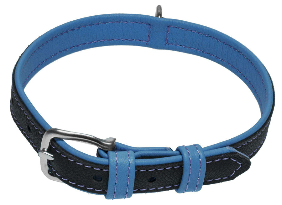 DOGLine Soft Leather Dual Color Collar - SitStay - 1