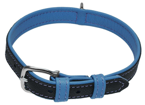 DOGLine Soft Leather Dual Color Collar - SitStay - 2