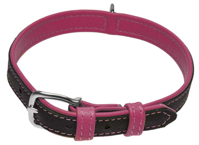 DOGLine Soft Leather Dual Color Collar - SitStay - 8