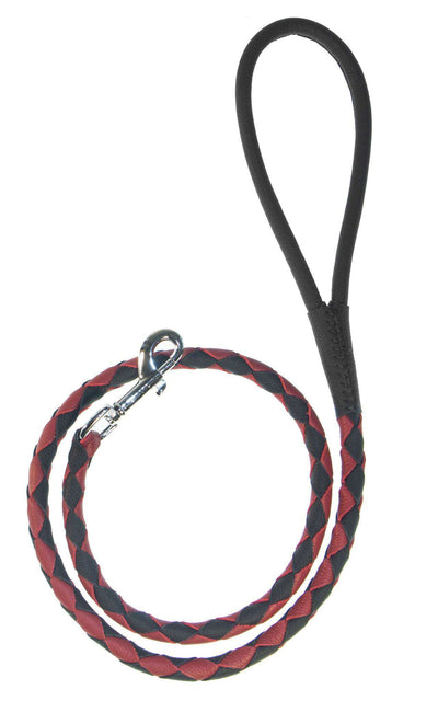 DOGLine Round Braided Leather Leash - SitStay - 3
