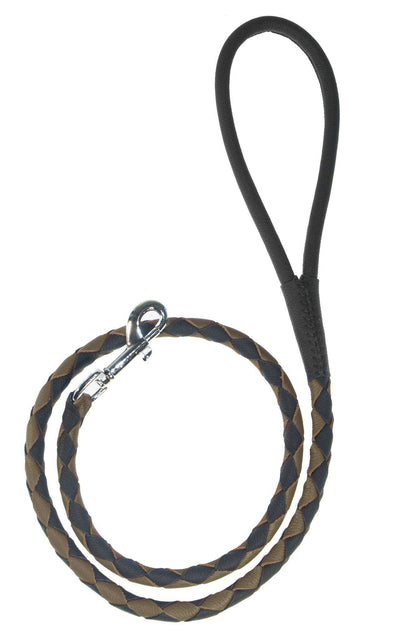DOGLine Round Braided Leather Leash - SitStay - 5