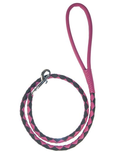 DOGLine Round Braided Leather Leash - SitStay - 13