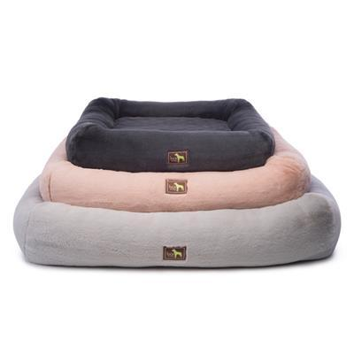 small, medium, and large puff cuddler beds stacked on top of each other. the top color is dark gray, the middle color is light pink, the bottom color is light gray