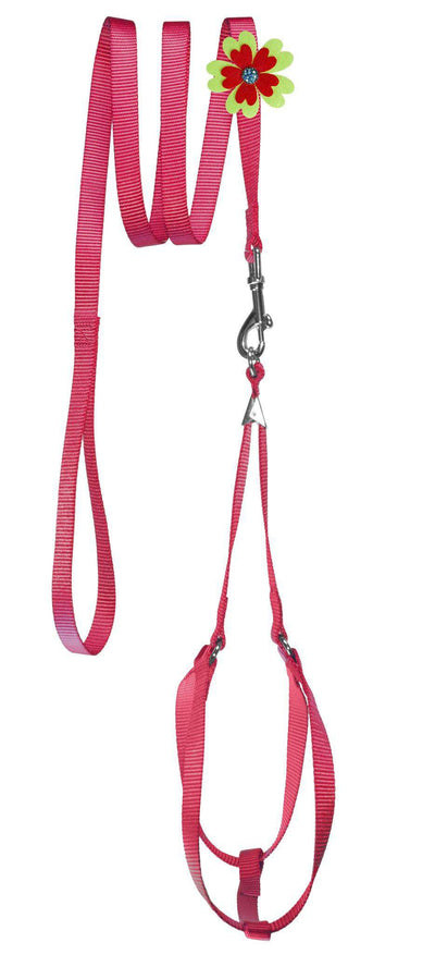 DOGLine Nylon Step-In Harness Flower and Leash Combo - SitStay - 4