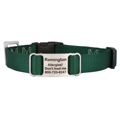 Black dogIDs Nylon ScruffTag Personalized Dog Collars