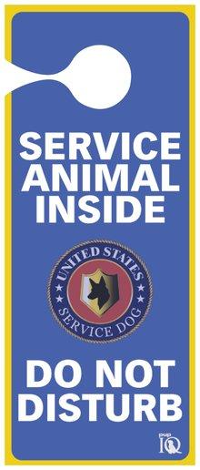 Service animal inside do not disturb door hanger