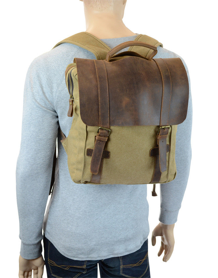 R&R Collections 4-413-2Z Genuine Leather/Canvas Laptop Backpack