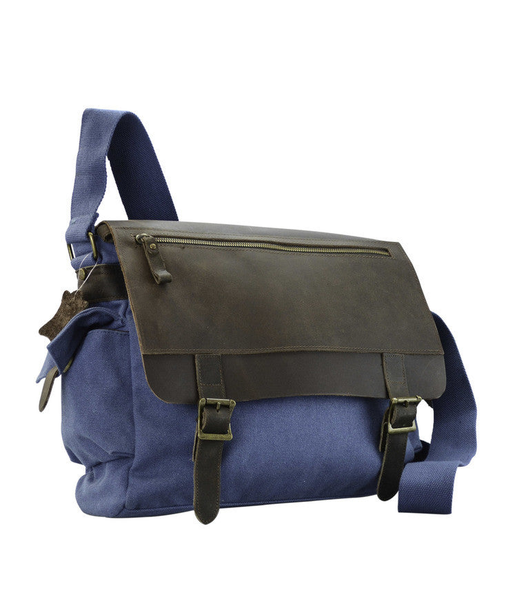 R&R Collections Canvas Messenger Bag With Leather On Flap